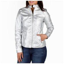 Silver Metallic Faux Leather Moto Jacket NWT