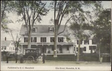 Meredith NH Elm Hotel & Horse Wagon c1910 Postcard