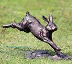 Rabbit Running Garden Statue Metal Bunny Sculpture Bronze Finish Outdoor Decor