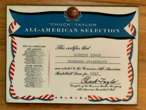 VINCENT COHEN PERSONALLY OWNED 1957 ALL-AMERICAN AWARD     SYRACUSE    VERY RARE