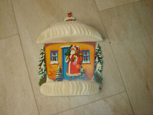 Vintage Large Christmas Cardboard + Honeycomb Paper House with Santa Decoration