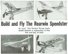 """Model Airplane Plans (FF): Rearwin Speedster Scale 28"""" Rubber or CO2 (Flyline)"""