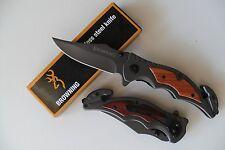 Couteau Sauvetage BROWNING Lame Acier 8,5 cm Manche Acier & Bois 12 cm Outdoor