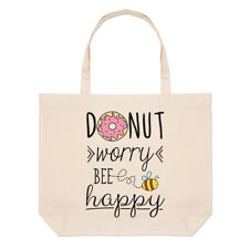 Donut Worry Bee Happy Large Beach Tote Bag - Doughnut Funny Shoulder