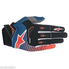 Guanto moto cross ALPINESTARS techstar gloves-BLUE ORNG FL WH taglia L