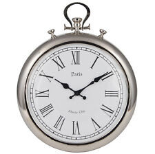Silver Metal Stopwatch Wall Clock Roman Numerals Paris High Quality Unique 48cm