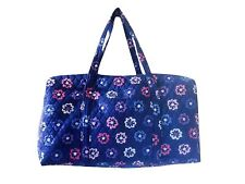 Vera Bradley Dark Blue Chic ELLIE FLOWERS Large Travel Gym Duffel Bag nwt