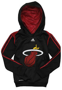 Adidas NBA Youth Boys Miami Heat On Court Pullover Sweatshirt Hoodie, Black