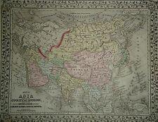 Vintage 1874 Asia Map Old Antique Original & Authentic Atlas Map - Free S&H