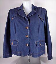 Fashion Bug Jean Jacket Blazer Plus 26W Dark Wash Stretch Cotton Spandex