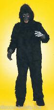 PLUSH GORILLA SUIT ADULT HALLOWEEN COSTUME ONE SIZE BODY, MASK, FEET & HANDS