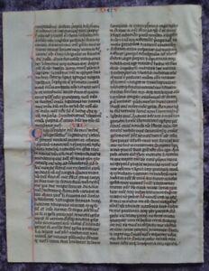 GROSSES PERGAMENT BIBEL EINZELBLATT HANDSCHRIFT INITIALEN PARIS 1250 #C078S