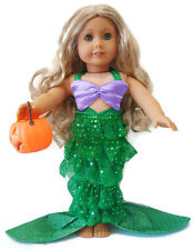 Mermaid Halloween Costume & Pumpkin Candy Holder for American Girl DOLL CLOTHES