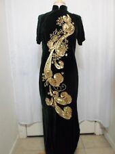 Cheongsam L Chinese Dress Green Velvet Gold Sequin