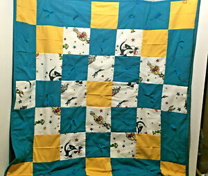 New Homemade Space Jam Baby Quilt Crib Blanket~Thick~38X39
