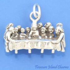 THE LAST SUPPER EUCHARIST JESUS WITH APOSTLES 3D 925 Solid Sterling Silver Charm