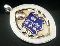 Silver Enamel Pocket Watch Fob Medal, FATTORINI, Birmingham 1935
