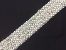 "Pearl Beaded Trim Crystal Applique 1.75"" Wide Embellishment Rhinestone Motif"