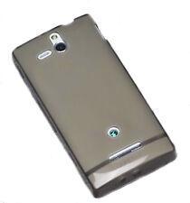 Silikon TPU Handy Hülle Cover in Smoke für Sony Xperia U + Displayschutzfolie