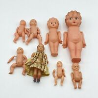 Lot Of 8 Vintage Antique Jointed Celluloid Carnival Dolls  Japan USA