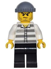 LEGO Police - Jail Prisoner - Prison Stripes, Stubble & Knit Cap - Mini Figure