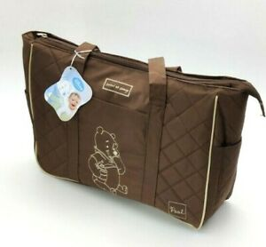 Brand New Disney Classic Winnie the Pooh Diaper Bag Brown Embroidered
