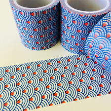 WASHI TAPE WIDE BLUE SCALE RED DOT 40MM WIDE X 5MTR PLANNER CRAFT WRAP SCRAP