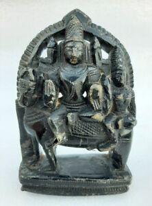 Antique Old Black Marble Stone Fine Carved Hindu God Shiva Parvati Nandi Statue