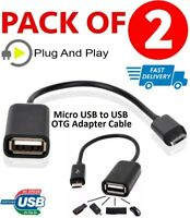 2x Micro USB Cable Host to USB OTG Adapter Android Tablet Phone PDA Samsung HTC