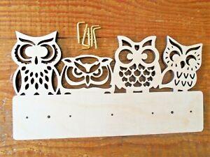 Wooden Owl key holder- 5 hooks new home wedding gift birthday owls Christmas