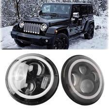 2x 7inch Round LED Headlight Hi/Low Beam Halo Angle Eyes For Jeep Wrangler JK