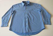 Van Heusen Men's (L 16-16 1/2) Blue Stripe Casual Long Sleeve Shirt Button Front