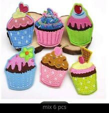 Kawaii Cupcakes Embroidered Iron On Patches Appliqué -6pcs