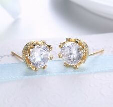 18k Yellow Gold Plated 7mm White Topaz Stud Earrings for Women