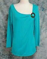 Soft Surroundings Womens sz XL Green Blue Notched Neck Long Sleeve Stretch Top