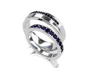 14K Solid White Gold Natural Gem Stone Sapphire Wedding Band For Man And Women