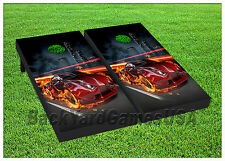 VINYL WRAPS Cornhole Boards DECALS Fire Red Car Black Bag Toss Game Stickers 305