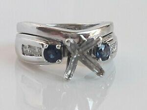 Platinum Setting Ring For Princess Diamond 1.20-1.50 Carat+  Sapphire & Diamonds