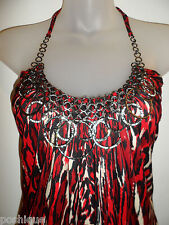 Sky Clothing Brand S Mini Dress Rhinestone Crystal Chain Leopard Red Party Club