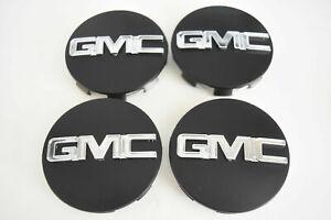 """New 4Pcs 3.25"""" 83mm Yukon Denali Sierra Wheel Center Hub Caps Matte Black/Silver"""