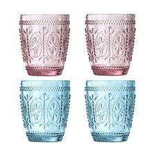 Fleur 280ml Glass Tumblers, Set of 4, 2 Pink / 2 Blue