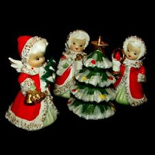 3 Vintage LEFTON Angel Girl Bell Figurines w Tree Candle & Gifts!
