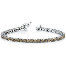"8.22ct Fancy Chocolate Diamond 18k White Gold Over 7"" Tennis Eternity Bracelet"