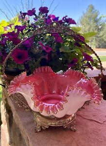 Victorian Cranberry Opalescent Bride's Basket Bowl & Silver Holder Antique