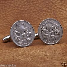 Australian Silver Tone Coin Cufflinks, 5 Cent Echidna Anteater Australia