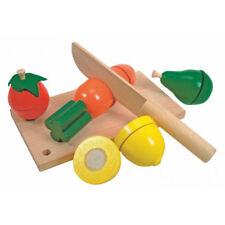 Motorikspielzeug Holz-Spielzeug Kleiner Küchenchef Schneidebrett Holzmesser Gemüse Zutaten NEU Holzspielzeug
