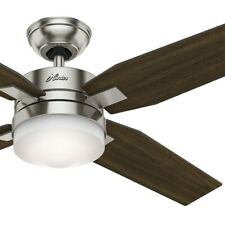 """Hunter 50"""" Contemporary Ceiling Fan in Brushed Nickel with Light Kit and Remote"""