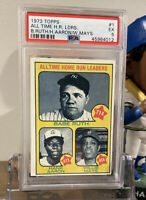 1973 Topps #1 All Time Home Run Leaders Babe Ruth Hank Aaron Willie Mays PSA 5