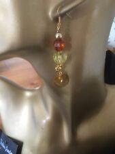 Acrylic Bead And Shell Earrings - Handmade