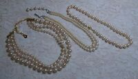 VINTAGE ASSORTED GLASS & LUCITE FAUX PEARL BEADED MULTI STRAND NECKLACE LOT